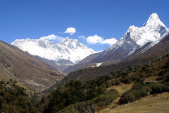 Everest, Lothse and Ama Dablam Royalty Free Stock Photo