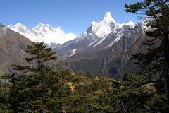 Everest, Lothse en Ama Dablam Royalty-vrije Stock Afbeelding