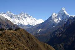 Everest, Lothse y Ama Dablam Foto de archivo libre de regalías