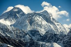 Everest mountain against blue sky.  Royalty Free Stock Image