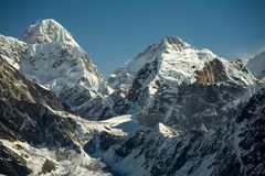 Everest mountain against blue sky.  Royalty Free Stock Photo
