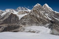 Everest mountain peak view from the way to Mera peak, Everest re Royalty Free Stock Photography