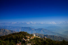 The Everest mountain range view from Nagarkot, Nepal. Royalty Free Stock Photography