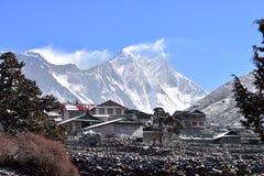 Everest mountain range from village of Pangboche, Himalaya, Royalty Free Stock Photos