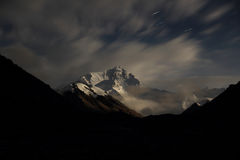 The Everest at night. You can four seemeteors royalty free stock photos