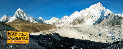 Everest and Nuptse from Kala Patthar Royalty Free Stock Photography