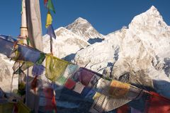 Everest and Nuptse from Kala Patthar Royalty Free Stock Photo