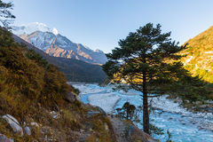 Everest Nuptse Lhotse mountain peaks at morning. Stock Photography