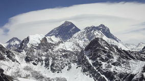 Everest, Nuptse and Lhotse. Mountains view from Kala Patthar in Himalaya, Nepal stock footage