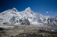 Everest,Nuptse and Lhotse viewed from Kala Pattar. The mountains of Everest,Nuptse and Lhotse viewed from Kala Pattar in the Everest base camp trek in Nepal Royalty Free Stock Photo