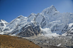 Everest,Nuptse and Lhotse viewed from Kala Pattar. The mountains of Everest,Nuptse and Lhotse viewed from Kala Pattar in the Everest base camp trek in Nepal Royalty Free Stock Photos