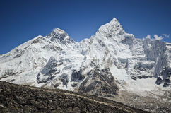 Everest,Nuptse and Lhotse viewed from Kala Pattar. The mountains of Everest,Nuptse and Lhotse viewed from Kala Pattar in the Everest base camp trek in Nepal Stock Photo