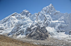 Everest,Nuptse and Lhotse viewed from Kala Pattar. The mountains of Everest,Nuptse and Lhotse viewed from Kala Pattar in the Everest base camp trek in Nepal Stock Photography