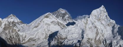 Everest and Nuptse summits from Kala Patthar peak Stock Photography