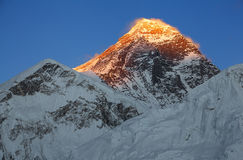 Everest Peak Sunset Blue Sky Stock Photo