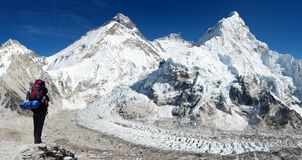 Everest from Pumo Ri base camp with tourist Royalty Free Stock Photo