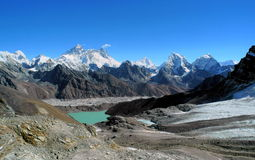 Everest range and Gokyo valley from Renjo La Stock Photo