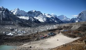 Everest ridge viewed from Kala Pattar. View point Royalty Free Stock Photography