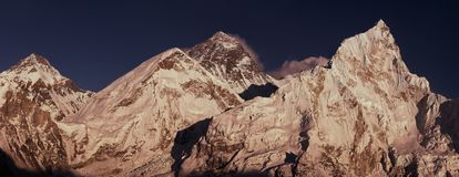 Everest Summit panoramic view with Lhotse and Nuptse peaks Stock Image