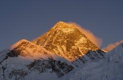 Everest summit or peak at sunset or sunrise. Everest base camp trek, tourism in Nepal stock images