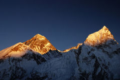 Everest Sunset. Sunset casts its last light on the summit of Everest (left) and Nuptse (right) taken from the summit of Kala Patthar Royalty Free Stock Images