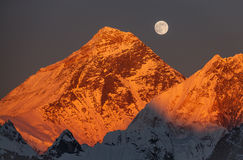 Everest Sunset Full Moon Stock Images