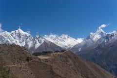 Everest, Taboche Ama Dablam halnego szczytu widok od Namche półdupków Obraz Royalty Free