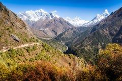 Everest View. Trekking around Namche Bazaar and views to Everest Sagamatha national Park Nepal Stock Photography