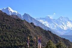Everestbergketen van bazar Namche Stock Afbeelding
