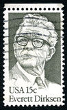 Everett Dirksen US Postage Stamp. UNITED STATES OF AMERICA - CIRCA 1981: A used postage stamp from the USA, depicting an illustration of historic American stock photos