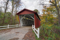 Everett Road Covered Bridge. Looking out at the beautiful fall colors at the Everett Road Covered Bridge in the Cuyahoga Valley National Park in Ohio Royalty Free Stock Images