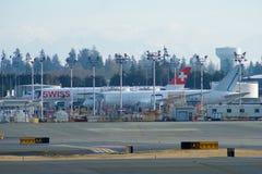 EVERETT, WASHINGTON, los E.E.U.U. - 26 de enero de 2017: Sitio de la producción de Boeing, la fábrica enorme en el aeropuerto del Foto de archivo libre de regalías
