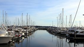 A nice and sunny day at the Everett marina royalty free stock images