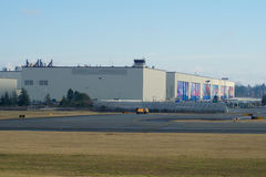 EVERETT, WASHINGTON, USA - JAN 26th, 2017: Boeing`s New Livery Displayed on Hangar Doors of Everett Boeing Assembly Stock Photos