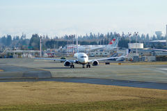 EVERETT, WASHINGTON, USA - JAN 26th, 2017: Brand new Japan Airlines Boeing 787-9 MSN 34843, Registration JA867J lining Stock Photo