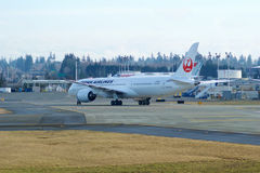EVERETT, WASHINGTON, USA - JAN 26th, 2017: Brand new Japan Airlines Boeing 787-9 MSN 34843, Registration JA867J lining Royalty Free Stock Photo