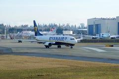 EVERETT, WASHINGTON, USA - JAN 26th, 2017: A brand new Ryanair Boeing 737-800 Next Gen MSN 44766, Registration EI-FTP Royalty Free Stock Images