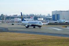 EVERETT, WASHINGTON, USA - JAN 26th, 2017: A brand new Ryanair Boeing 737-800 Next Gen MSN 44766, Registration EI-FTP Stock Photography