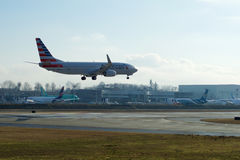 EVERETT WASHINGTON, USA - JANUARI 26th, 2017: Splitterny American Airlines Boeing 737-800 en nästa Gen MSN 31258, registrering Fotografering för Bildbyråer
