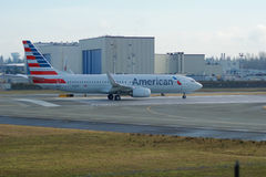 EVERETT WASHINGTON, USA - JANUARI 26th, 2017: Splitterny American Airlines Boeing 737-800 en nästa Gen MSN 31258, registrering Arkivfoto