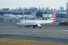 EVERETT WASHINGTON, USA - JANUARI 26th, 2017: Splitterny American Airlines Boeing 737-800 en nästa Gen MSN 31258, registrering Arkivbilder