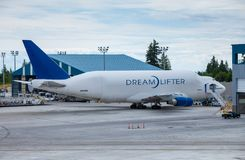 EVERETT, WASHINGTON, USA - JULY 3, 2014: The Boeing 747 Dreamlifter on the Runway in Everett Washington royalty free stock images