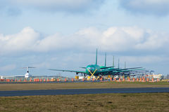 EVERETT, WASZYNGTON, usa - JAN 26th, 2017: Brandnew Boeing 787 Dreamliner bez silników i paintinnnng czeka być Zdjęcia Royalty Free