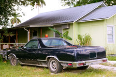 Everglades city in florida yellow house old car Royalty Free Stock Photos