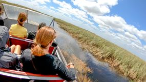 EVERGLADES, FL - APRIL 2018: Tourists visit National park on the royalty free stock photography