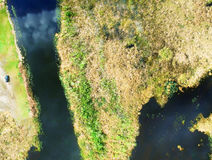 Everglades, Florida. Aerial overhead view of earth surface Royalty Free Stock Photos