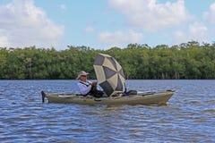 Kayaker in Everglades National Park, Florida. stock photo