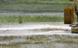 Everglades. Passing of the airboat in the everglades , the river of grass stock image