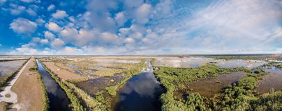 Everglades swamps aerial view at dusk, Florida-USA royalty free stock photo