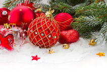 Evergreeen  tree and red christmas decorations Stock Photos